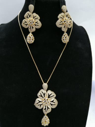 Copper With Gold Plated Trendy Flower 2 Piece Jewelry Set