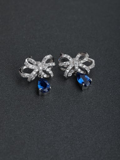 Elegant Micro inlay Zircon bow-knot Blue semi-precious stones 925 silver Stud earrings