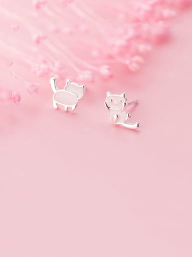 925 Sterling Silver With Platinum Plated Cute Asymmetrical Pink Kitten Stud Earrings