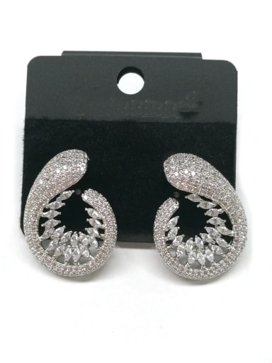 Copper With White Gold Plated Fashion Hook Earrings