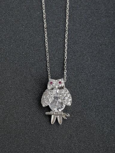 Micro inlay Zircon owl  925 Silver Necklaces
