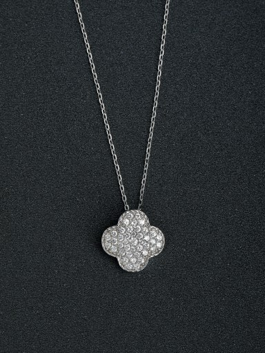 Zircon four leaf clover 925 silver necklaces