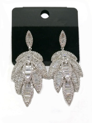 Copper With White Gold Plated Fashion Leaf Earrings