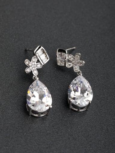 Micro inlay Zircon Flower Droplet type 925 silver Drop Earrings
