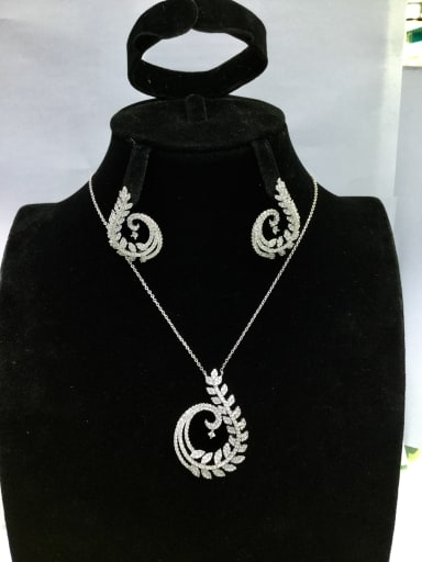 Copper With White Gold Plated Trendy Leaf 2 Piece Jewelry Set