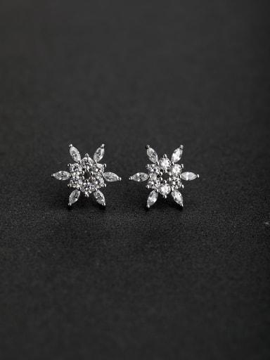 Elegant Micro inlay Zircon Star 925 silver Stud earrings