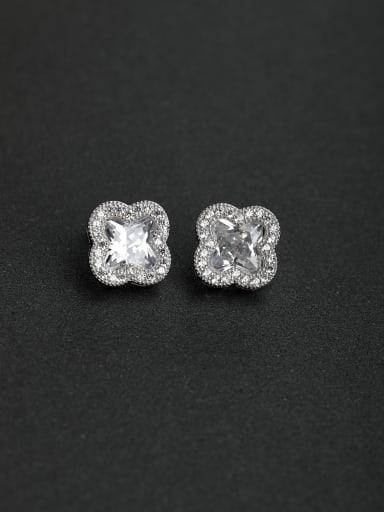 Micro inlay Zircon Lucky Clover flower 925 silver Stud earrings