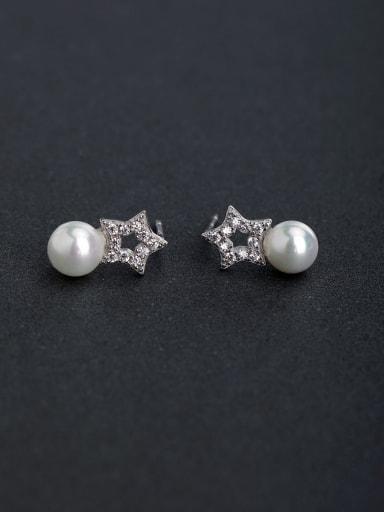 Micro inlay Rhinestone sta Imitation pearls 925 silver Stud earrings