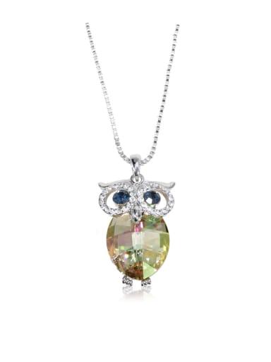 Dazzling Owl Crystal Swarovski element crystal necklace Multicolor