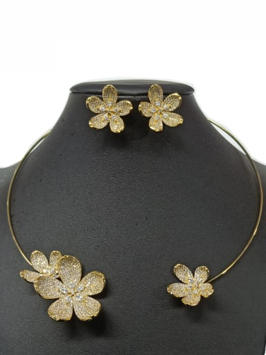 Copper With Gold Plated Fashion Flower Jewelry Sets