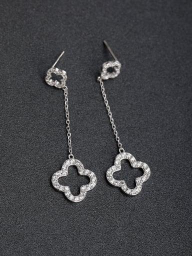 Micro inlay Zircon Lucky Clover Cross 925 silver Drop Earrings