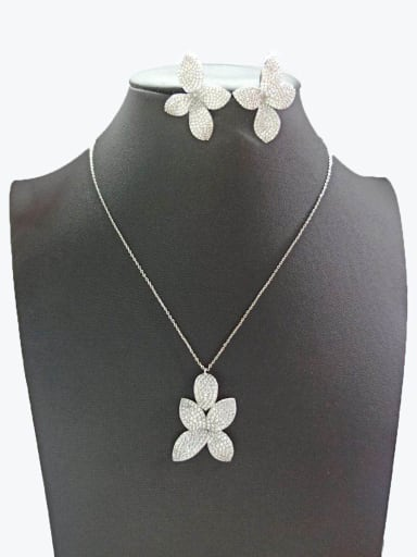 Copper With White Gold Plated Fashion Leaf Jewelry Sets