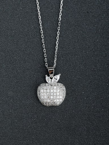 Micro inlay Zircon Apple 925 Silver Necklaces