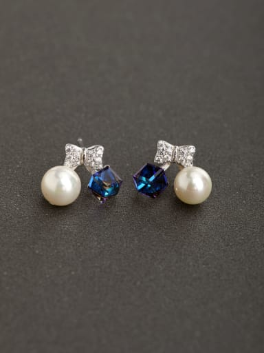 Micro inlay Rhinestone Bowknot Imitation pearls 925 silver Stud earrings