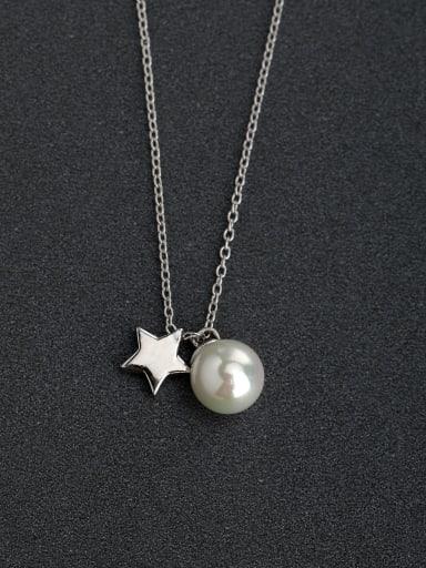Micro inlay Zircon Imitation pearls star 925 Silver Necklaces