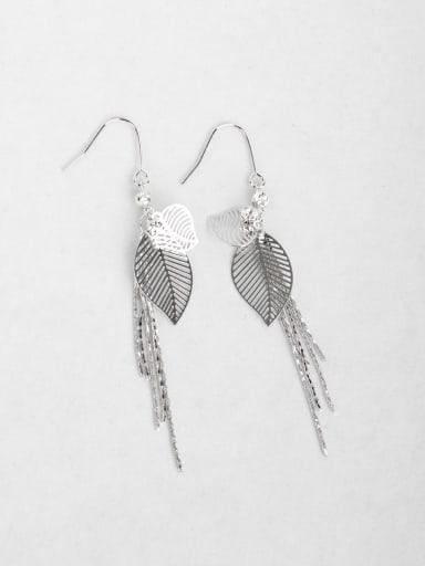 metallic feel Leaf tassel long earrings
