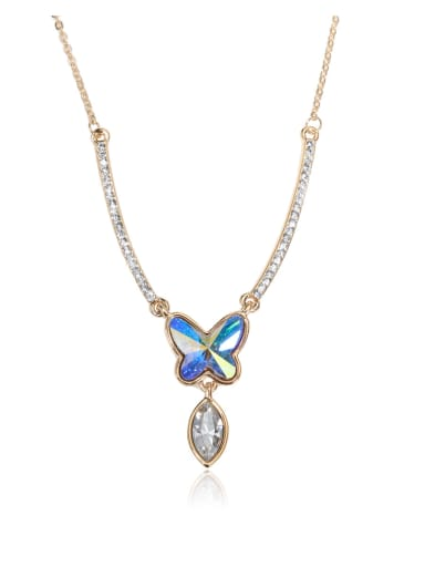 Alien Crystal Butterfly horse eye stone Swarovski element crystal necklace Multicolor