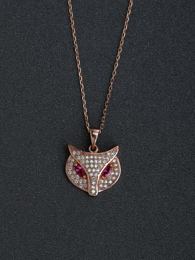 Lady fox pendant with Rhinestone crystal 925 silver necklace