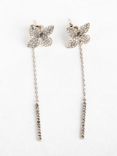 Flower Zircon Copper inlaid platinum Drop Earrings