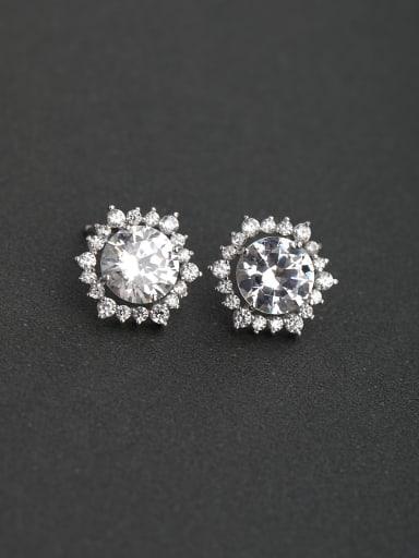 Glittering zircon Sun flower 925 silver Stud earrings