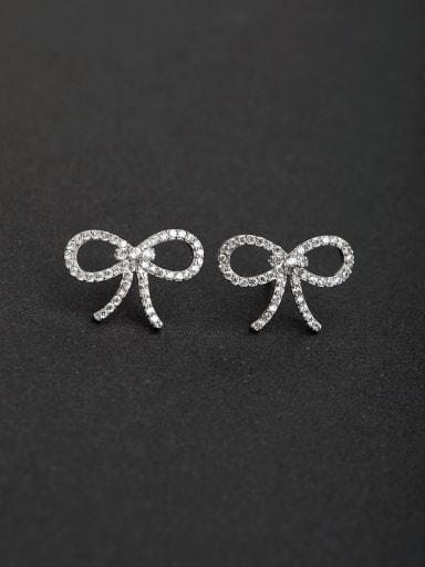 Classic bowknot delicate 925 silver Stud earrings