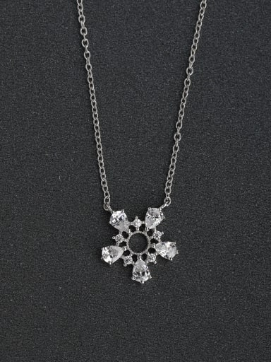 Simple sunflower zircon 925 silver necklace