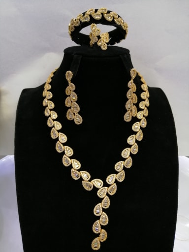 Copper With Gold Plated Fashion Water Drop 4 Piece Jewelry Set