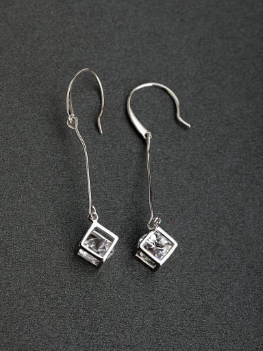 Micro inlay Three-dimensional zircon 925 silver Hook earrings