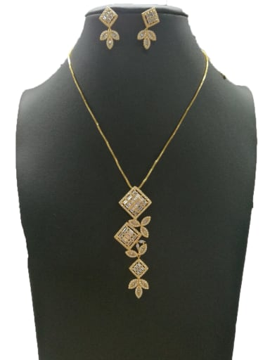 Copper With Gold Plated Fashion Square 2 Piece Jewelry Set