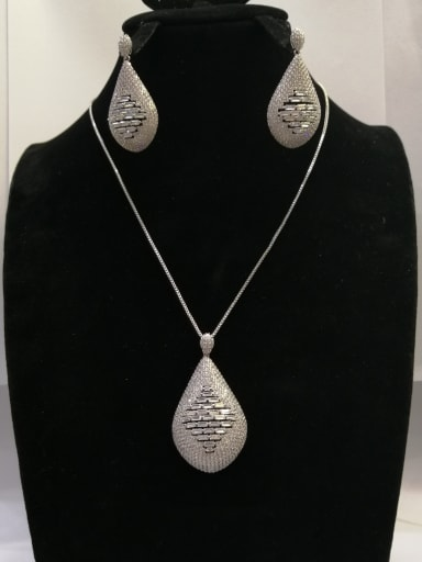 Copper With White Gold Plated Fashion Water Drop 2 Piece Jewelry Set