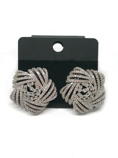Copper With White Gold Plated Fashion Star Earrings