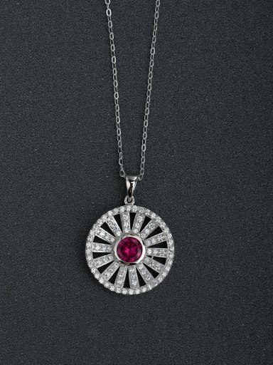 Micro inlay Zircon bling bling sunflower 925 Silver Necklaces
