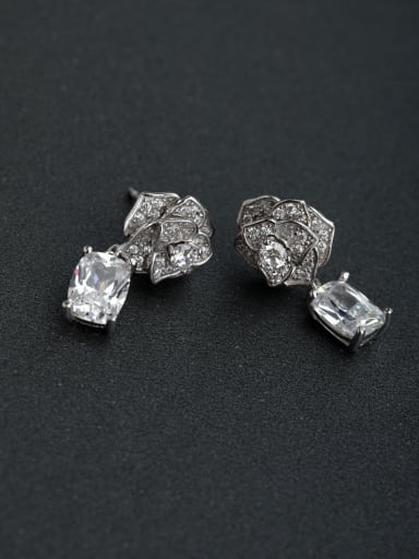Inlaid Semi jewel Rose  925 silver Drop Earrings