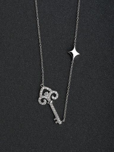 Micro inlay Zircon key Silver Necklaces