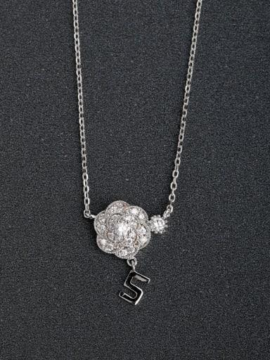 Micro inlay Zircon Flower No.5  Silver Necklaces