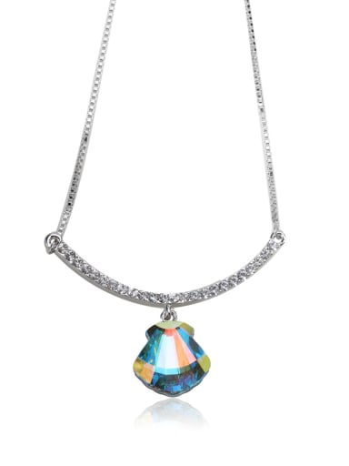 Alien stone Simple shape Swarovski element crystal necklace