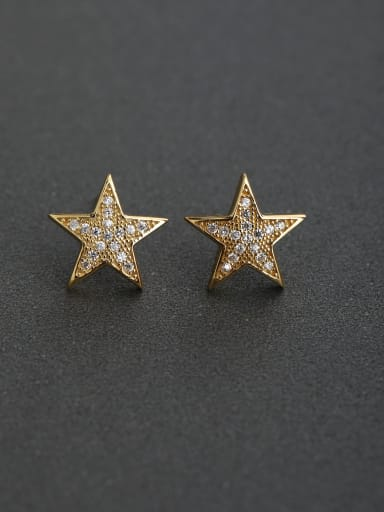 Five-pointed star Inlaid 925 silver Stud earrings