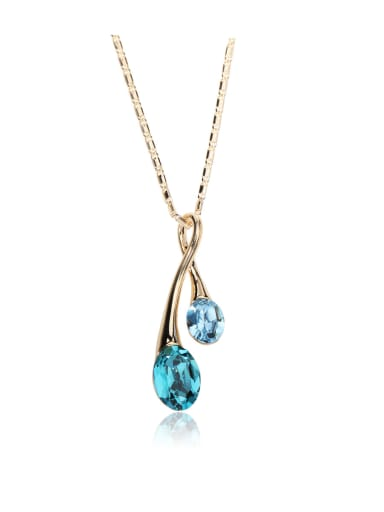 Simple Drop shaped Swarovski element crystal necklace Multicolor