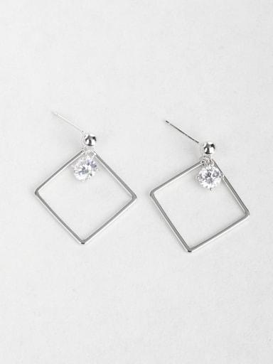 Zircon square Copper inlaid platinum Drop Earrings