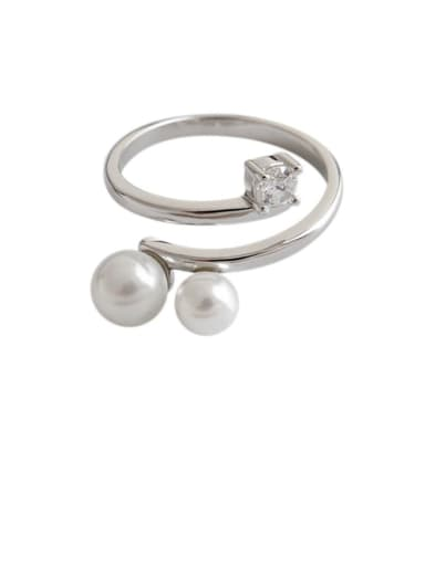 925 Sterling Silver With Platinum Plated Simplistic Wrong Side   Free Size Rings