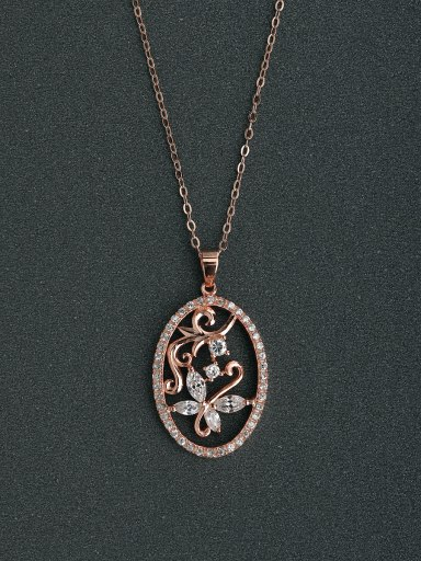Micro inlay Flower oval  925 Silver Necklaces