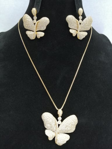 Copper With Gold Plated Fashion Butterfly 2 Piece Jewelry Set