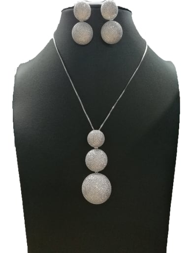 Copper With White Gold Plated Trendy Ball 2 Piece Jewelry Set