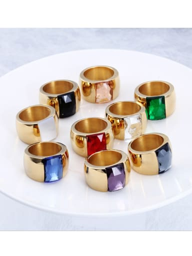 Titanium With 18k Gold Plated Fashion Square Party Multistone Rings