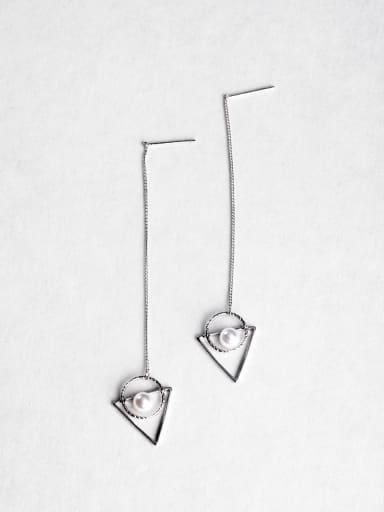 triangle Imitation pearls Threader Earrings