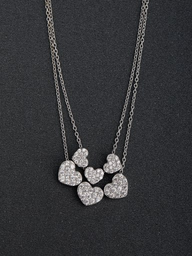 Micro inlay Rhinestone Heart Multilayer 925 silver necklace