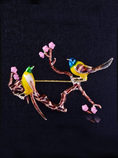 Copper With color Enamel Cute Bird Animal Brooches