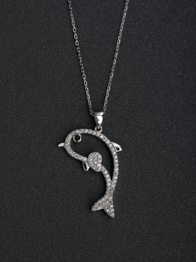 Micro inlay Zircon Hollow Dolphin  925 Silver Necklaces