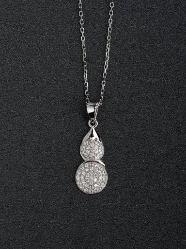 Micro inlay Zircon Minimalist Chinese style gourd 925 Silver Necklaces