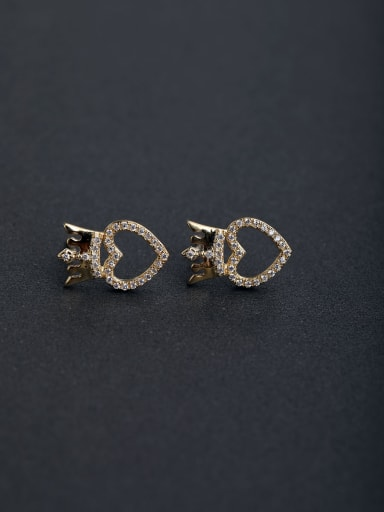 Micro inlay Zircon Crown 925 silver Stud earrings